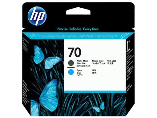HP 70 Matte Black and Cyan Printhead C9404A