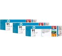 HP 91 3-pack 775-ml Light Gray DesignJet Pigment Ink Cartridges