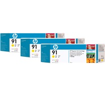 HP 91 Yellow Ink Cartridge C9485A 3-Pack