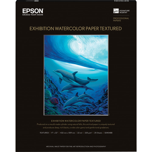 "Epson Exhibition Watercolor Paper Textured 17""x22"" S045488"