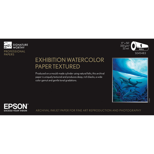 """Epson Exhibition Watercolor Paper Textured 17""""x50"""" Roll S045483"""