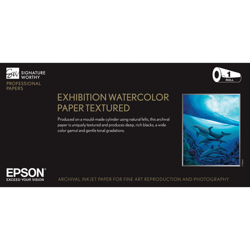 """Epson Exhibition Watercolor Paper Textured 22""""x50"""" Roll S045484"""