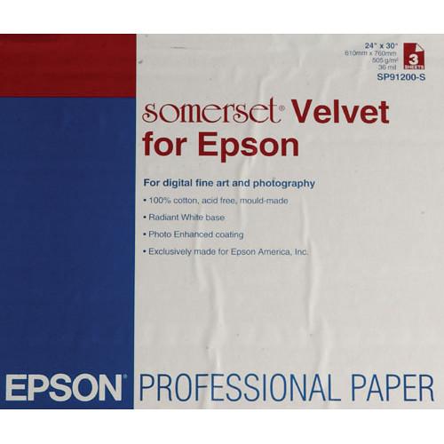 """Epson Somerset Velvet 505 gms 24""""x30"""" 3-sheets SP91200-S"""