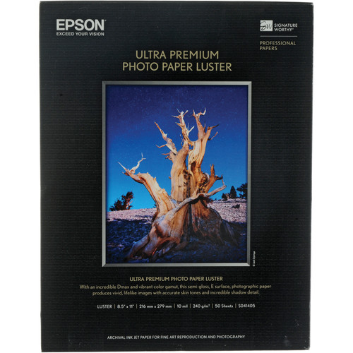 Epson Ultra Premium Luster Photo Paper 8.5inx11in 50-sheets S041405