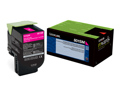 Lexmark 801SM Magenta Std Yield Return Program Toner 80C1SM0